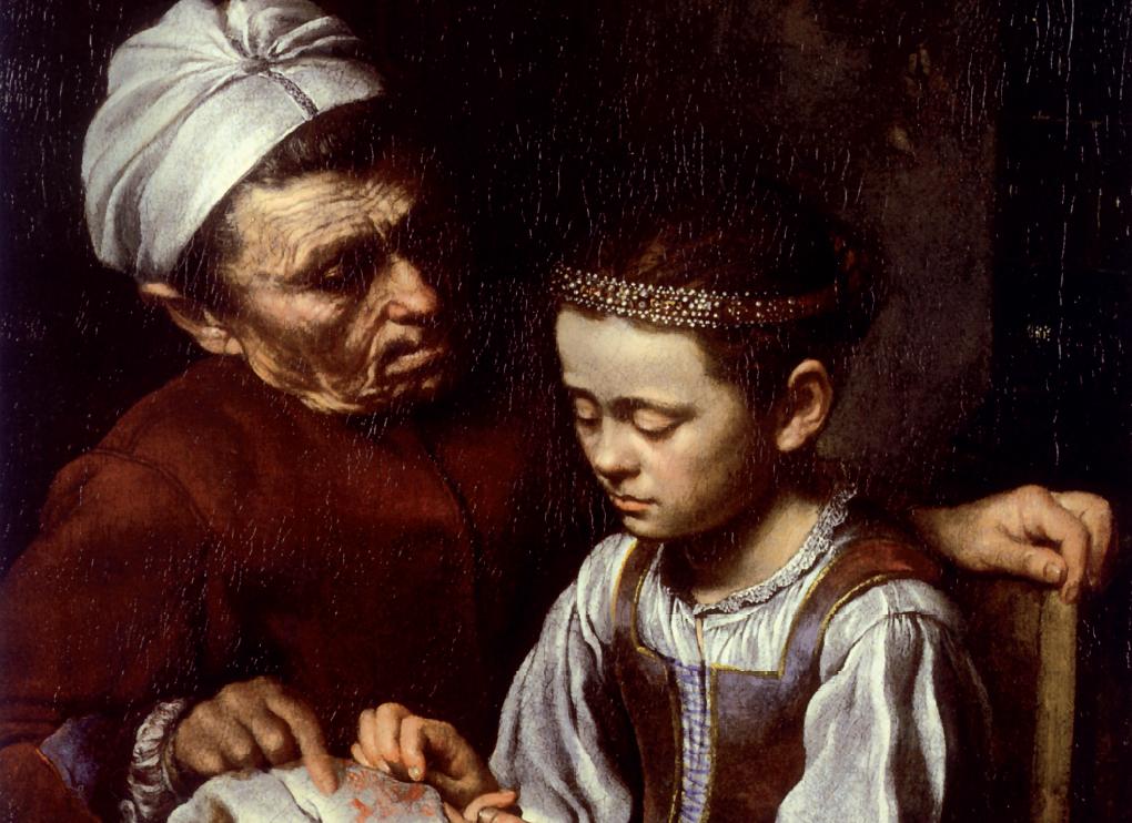 Pietro Bellotti, particolare, Scuola di ricamo, collezione Koelliker, Milano