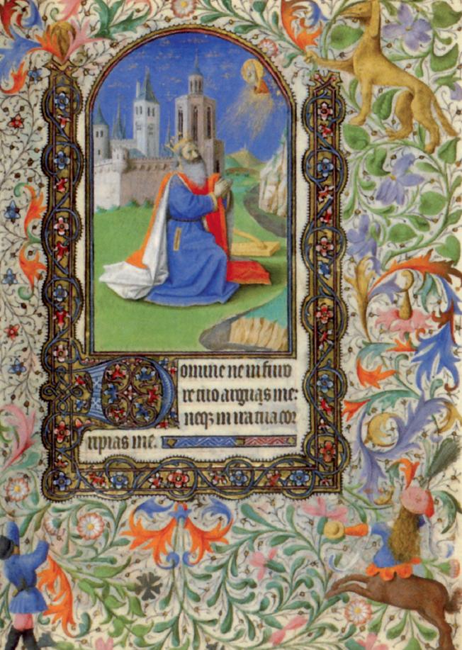 Enguerrand Quarton, David in preghiera, miniatura