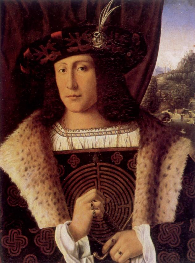 Bartolomeo Veneto, Ritratto di gentiluomo col labirinto, 1510 circa