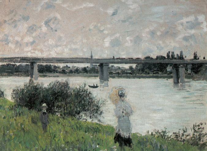 Monet, Passeggiata con vista sul ponte della ferrovia, 1874