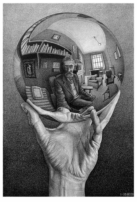 Maurits Cornelis Escher Mano con sfera riflettente / Hand with Reflecting Sphere, 1935 Litografia, 31,10x21,30 cm The M.C. Escher Holding b.V. All M.C. Escher works © 2015 The M.C. Escher Company. All rights reserved www.mcescher.com