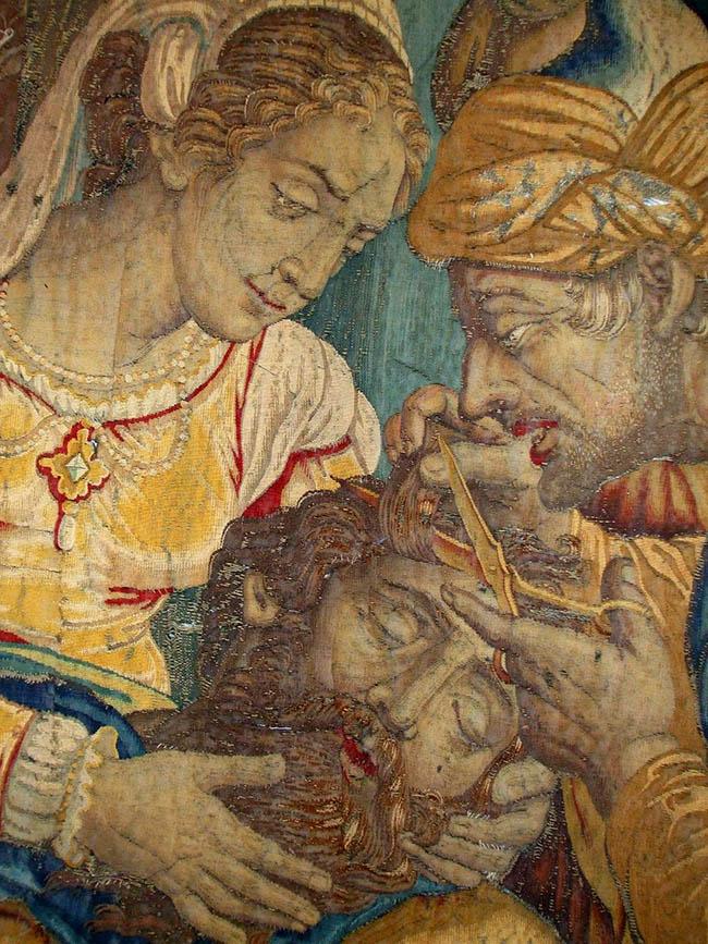 Storie di Sansone (a Sansone addormentato da Dalila vengono tagliati i capelli) , arazzo, 1600 circa, manifattura Jan Raes in Bruxelles