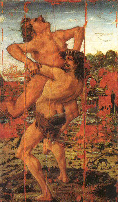 Antonio Pollaioio, Ercole e Anteo, 1475, tempera grassa su tavola, Firenze Galleria degli Uffizi. L'opera rappresenta l'urlo del guerriero aggredito. La ragione fisica del suo grido è doppiamente motivata dallo schiacciamento della parte finale della cassa toracica da parte dell'avversario. La causa è pertanto fortemente materiale
