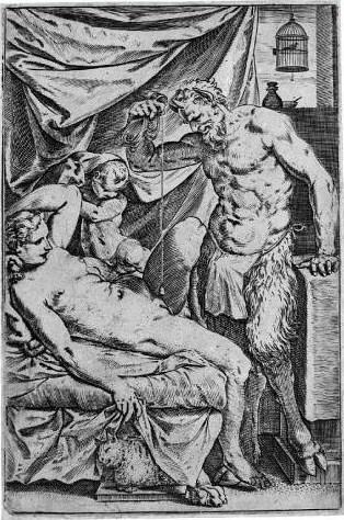 Agostino Carracci (1557/ 1602), Il satiro scandagliatore,1590 circa-1595 circa,bulino,mm 202x135