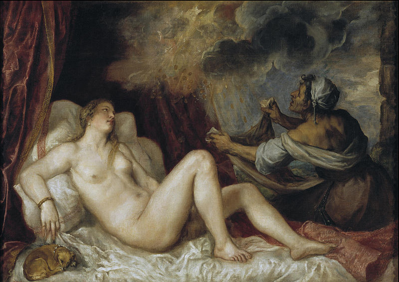 La versione della Danae di Tiziano conservata al museo del Prado. Il quadro rappresenta, in modo traslato, una scena di prostituzione. La vecchia serva-mezzana raccoglie i soldi della pioggia d'oro inviata da Giove. Manet riprende concetto e struttura per la propria Danae moderna, Olympia