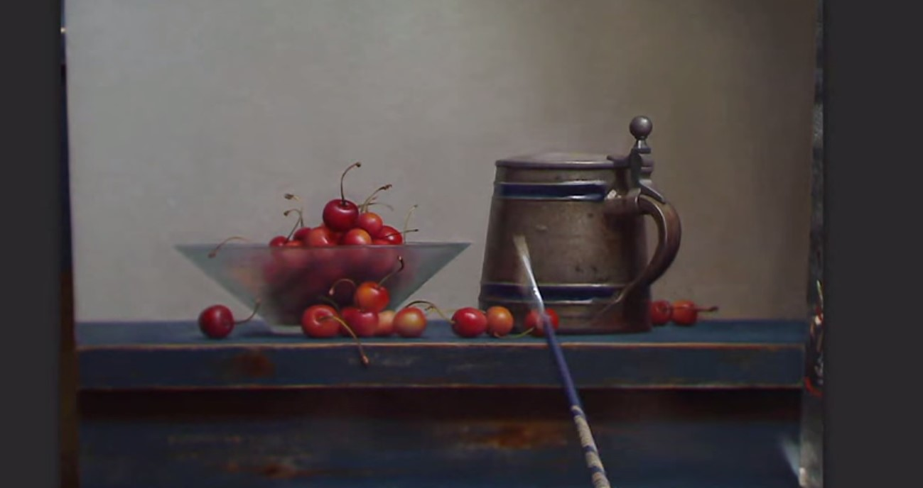 dipingere natura morta con ciliegie