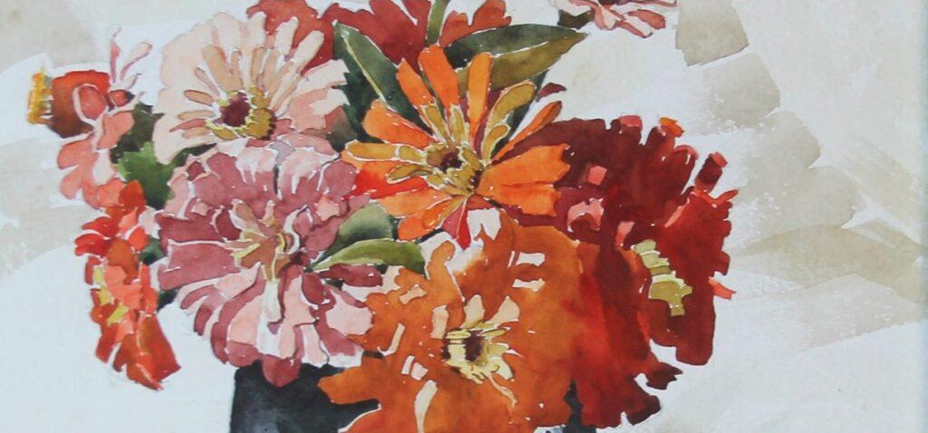 Ingrandimento della parte floreale del dipinto