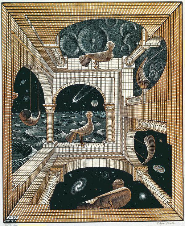 Maurits Cornelis Escher Altro mondo II / Other World II, 1947 Litografia, 31,8x26,1 cm Collezione Giudiceandrea Federico All M.C. Escher works © 2015 The M.C. Escher Company. All rights reserved www.mcescher.com