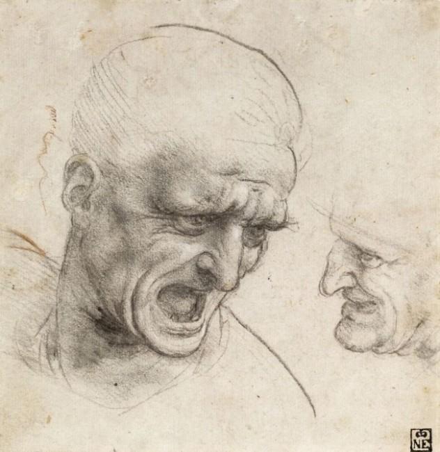 Leonardo da Vinci, Testa di uomo urlante. L'artista studia gli effetti di un grido aggressivo sulla fisionomia dell'uomo