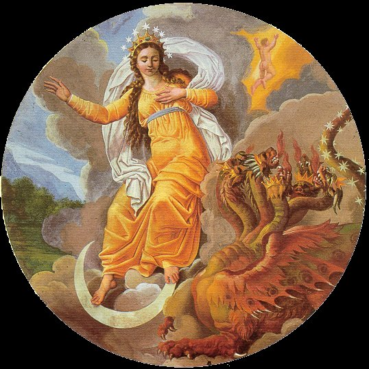La Madonna delll'Apocalisse, secondo la tradizione, combatte il Male. Tutto si basa su un passo del libro di san Giovanni evangelista. Nel cielo apparve poi un segno grandioso: una donna vestita di sole, con la luna sotto i suoi piedi e sul suo capo una corona di dodici stelle. Era incinta e gridava per le doglie e il travaglio del parto. Allora apparve un altro segno nel cielo: un enorme drago rosso, con sette teste e dieci corna e sulle teste sette diademi; la sua coda trascinava giù un terzo delle stelle del cielo e le precipitava sulla terra. Il drago si pose davanti alla donna che stava per partorire per divorare il bambino appena nato. Essa partorì un figlio maschio, destinato a governare tutte le nazioni con scettro di ferro, e il figlio fu subito rapito verso Dio e verso il suo trono. Affresco di Agostino Comerio da Locate - Como - 1824
