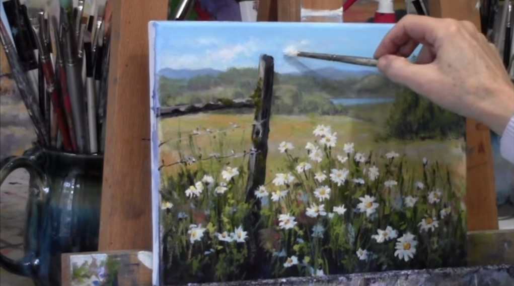 Dipingere fiori bianchi e margherite in un prato stile arte for Fiori dipinti a olio