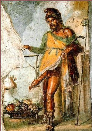 Mercurio-Priapo esibisce il suo pene enorme come garante della fecondità e come possibile punizione per la non equità del commercio. La sua verga diviene una sorta di asta della bilancia della giustizia. Dipinto parietale, Casa dei Vetii, Pompei
