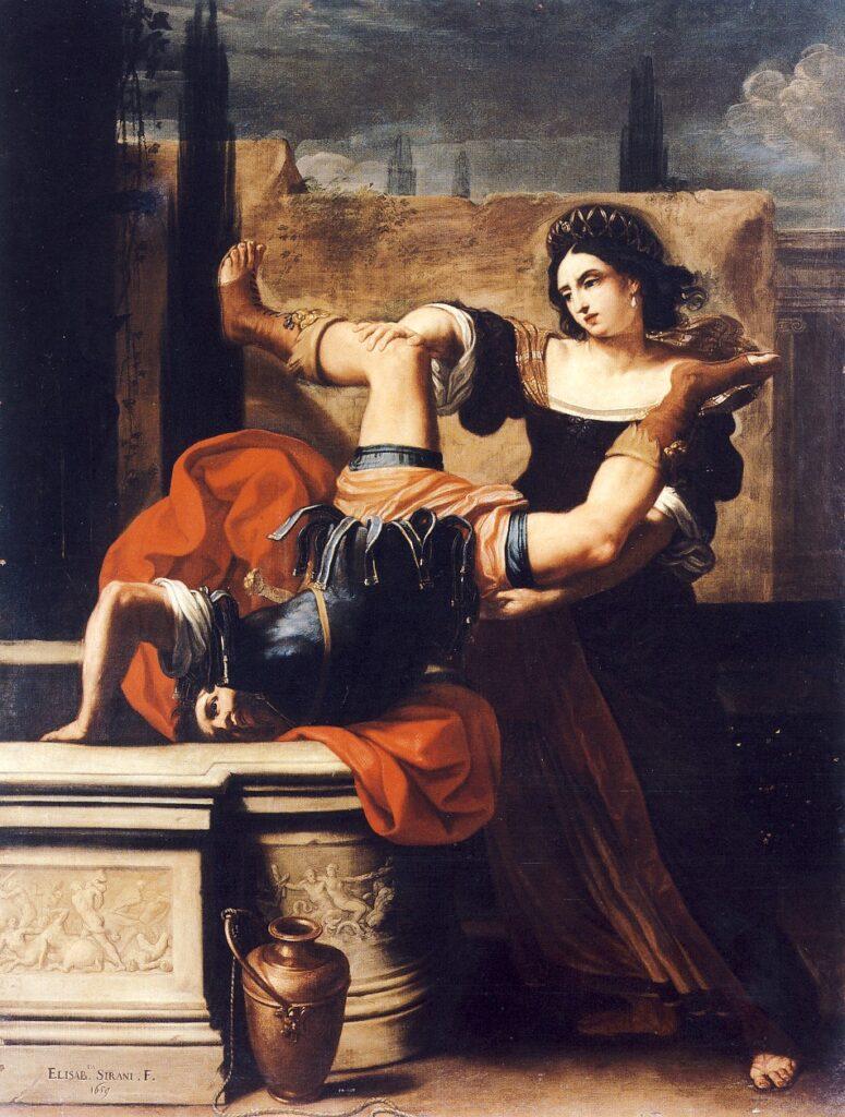 ELISABETTA SIRANI, Timoclea uccide il re dei Traci, 1659, olio su tela, cm. 227 x 117, Napoli Museo nazionale di Capodimonte