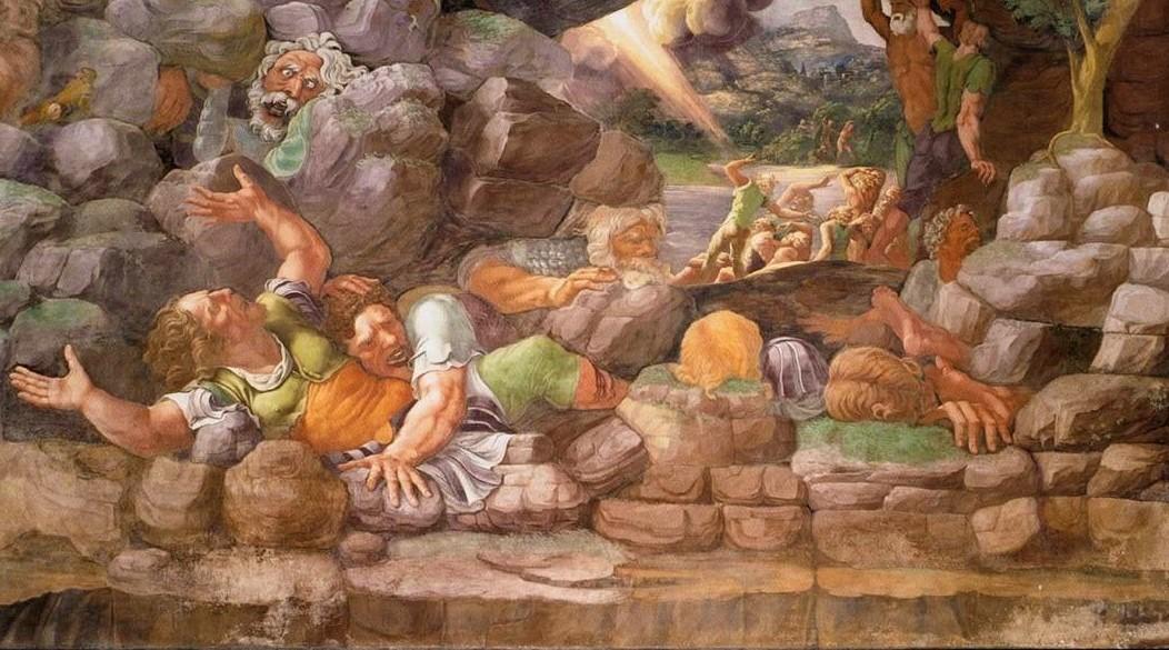 Giulio Romano e aiuti, La sala dei Giganti (particolare). 1532-1535. L'urlo dei giganti è provocato dal terremoto e dalla caduta dei macigni causati dall'ira di Zeus