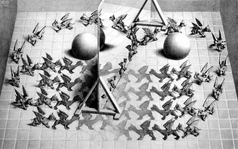 Maurits Cornelis Escher Specchio magico / Magic Mirror, 1946 Litografia, 27,90x44,50 cm The M.C. Escher Holding b.V. All M.C. Escher works © 2015 The M.C. Escher Company. All rights reserved www.mcescher.com