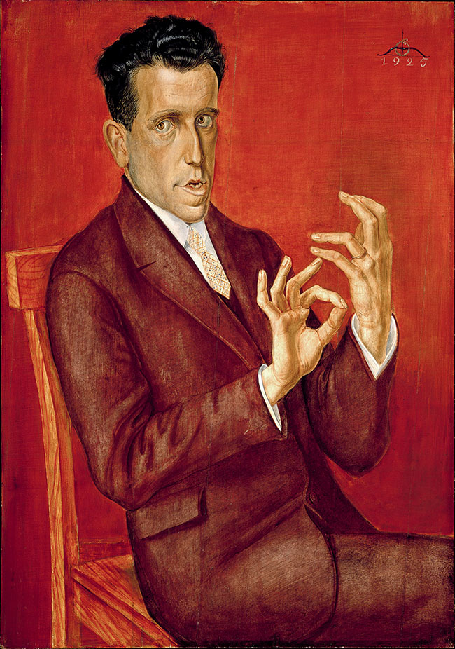 Otto Dix Ritratto dell'avvocato Hugo Simons, 1925 olio e tempera su tavola, cm 100,3 x 70,3 Montreal Museum of Fine Arts ©Otto Dix, by SIAE 2014– The Montreal Museum of Fine Arts, purchase, grant from the Government of Canada under the terms of the Cultural Property Export and Import Act, gifts of the Succession J. A. DeSève, Mr. and Mrs. Charles and Andrea Bronfman, Mr. Nahum Gelber and Dr. Sheila Gelber, Mrs. Phyllis Lambert, the Volunteer Association and the Junior Associates of the Montreal Museum of Fine Arts, Mrs. Louise L. Lamarre, Mr. Pierre Théberge, the Museum's acquisition fund, and the Horsley and Annie Townsend Bequest, inv. 1993.12.