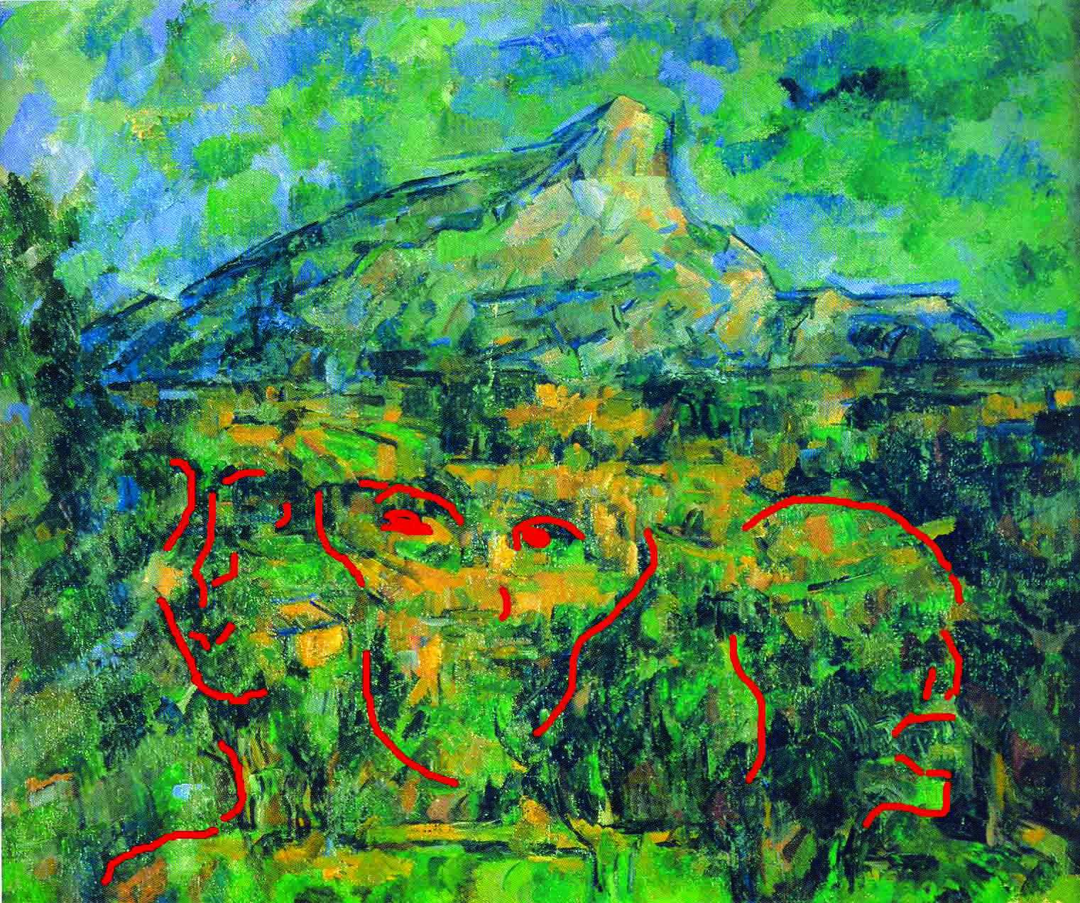 """Scoperti i tre volti nascosti Paul Cézanne, """"La Montagne Sainte-Victoire vue des Lauves"""",  1904-1905, olio su tela, Mosca, Museo delle Belle arti Puskin Dallo """"scavo"""" del quadro emergono tre volti appena riconoscibili. Il primo appartiene ad un giovane, dai tratti riconducibili a quelli di un """"Arlecchino"""" degli anni '90, soggetto per il quale posò anche il figlio Paul. Il secondo è quello di un uomo adulto, volto memore soprattutto del ritratto a matita di Delacroix, maestro al quale Cézanne dedicò una vera e propria """"Apoteosi"""". Il terzo conduce alla tragicità della vecchiaia, della malattia, della morte. Un teschio dalla bocca orribilmente spalancata che non trova precedenti nella pittura dell'artista, nemmeno nei numerosi teschi dipinti a partire dagli ultimi anni '90"""