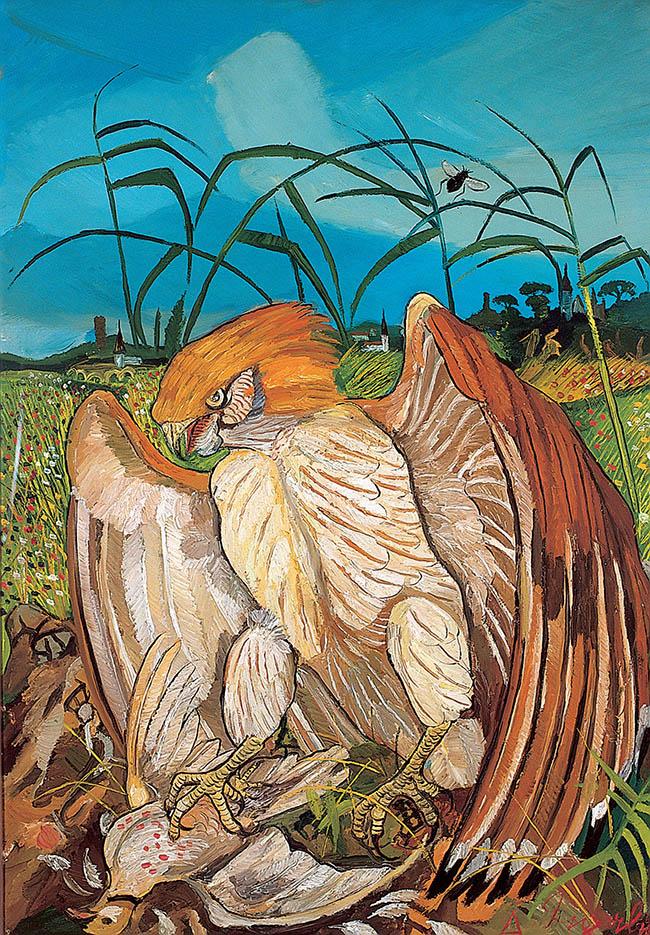 Antonio Ligabue, Aquila con colombo, olio su tela, 1960-1961, 10x70 cm