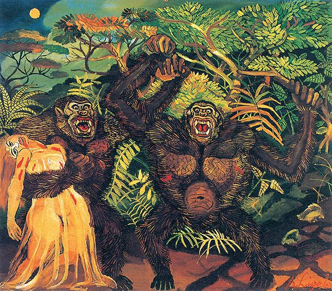 Antonio Ligabue, Gorilla con donna, olio su tavola di faesite, 1957-1958, 88x100 cm