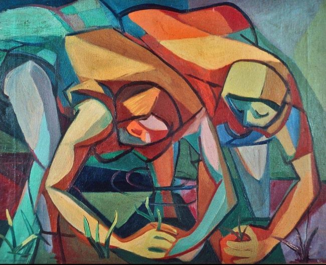 Aldo Borgonzoni, Le mondine, 1948 (Premio Suzzara 1948), olio su tela, cm 52,8x67