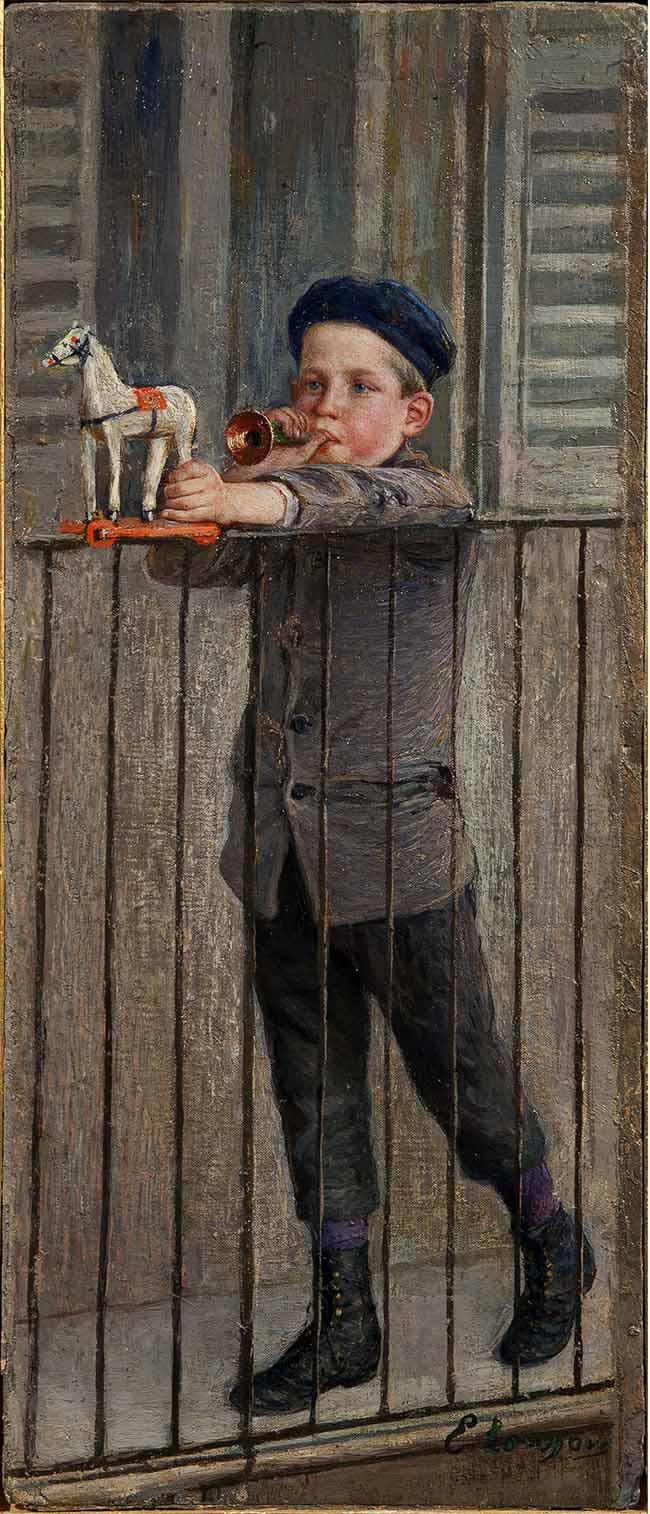 EMILIO LONGONI, Bambino con trombetta o Bambino con balocchi, 1896-1897, 41x18 cm,olio su tela applicata a cartone