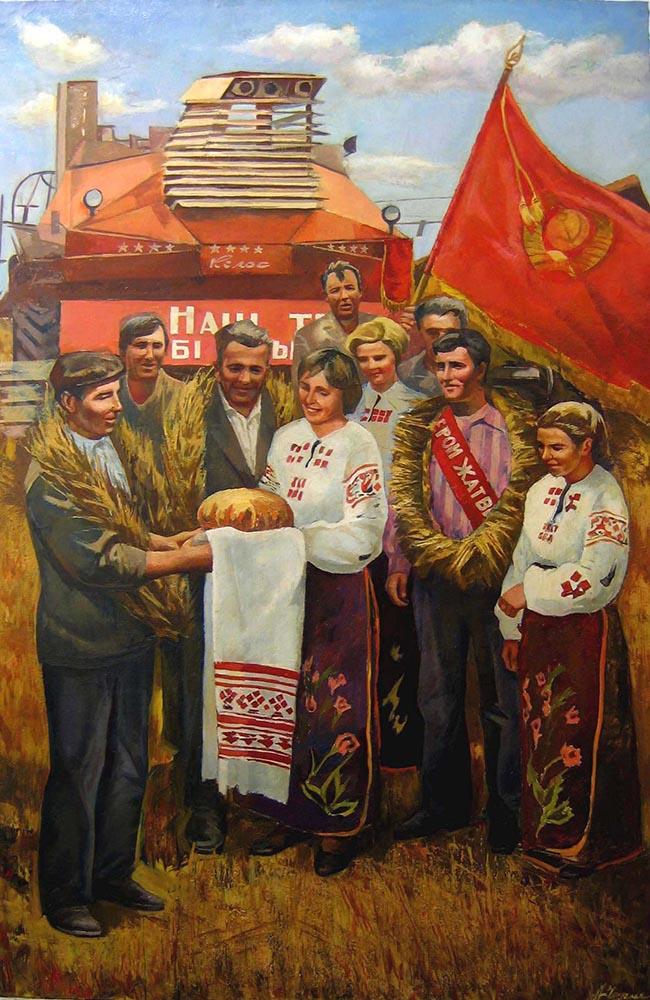 Cernov Anatoli Mikhailovich, Festa del grano, anni 80, Olio su tela, 178 x 118,5 cm