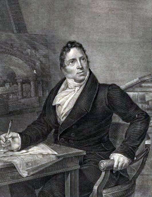 Ritratto del pittore Antonio Basoli (1774-1848) nel suo studio. Incisione di Antonio Marchi del 1827 tratta dal dipinto di Ludovico Lipparini