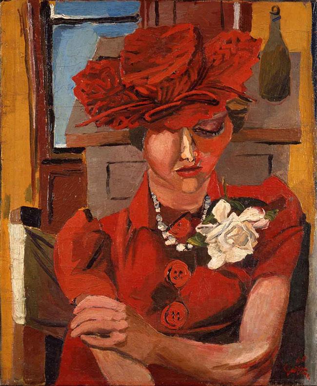 Renato Guttuso, Ritratto di Mimise con il cappello rosso, 1940