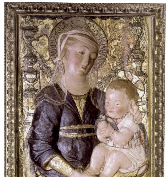 Bottega fiorentina, da Antonio Rossellino, Madonna della candelabre, cartapesta dipinta. Il prodotto si prepara utilizzando prevalentemente carta e stracci intrisi di colla di farina