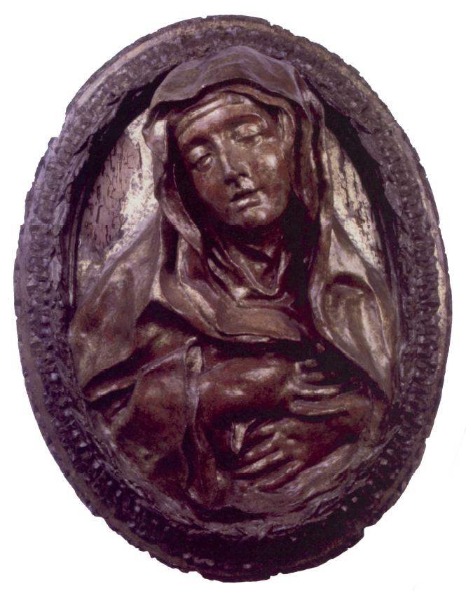 Gianlorenzo Bernini, modello per Suor Maria Raggi, cartapesta dorata. La finitura della scultura con il colore permetteva di mascherare l'anima dimessa della materia sottostante