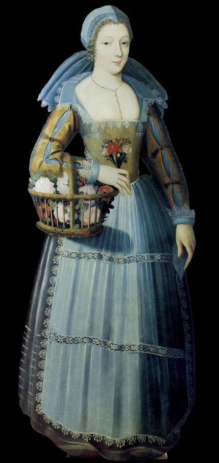 In alto: Jacques Linard, Ritratto di fanciulla con cesto colmo di rose e mazzolino di fiori, 1625 circa. La sagoma arredava le stanze del Louvre abitate da Enrichetta Maria di Francia, figlia di Enrico IV e Maria de Medici nonché sposa di Carlo I