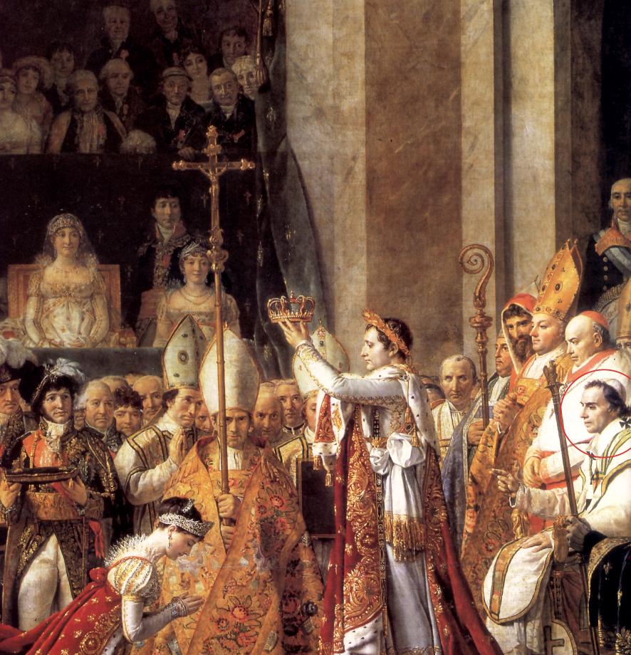 Il pontefice come un uomo qualunque Per eseguire questa tela dalle dimensioni colossali (6x9 metri), David impiegò due anni. Nella cattedrale di Notre-Dame il neoimperatore si accinge ad incoronare la consorte Giuseppina; dietro di lui, seduto sul trono, Pio VII, chiamato a presiedere la celebrazione, ma di fatto privo, a causa dell'inquadratura, di qualsiasi evidenza pittorica