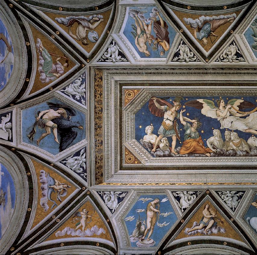 Farnesina, particolare della volta con l'oroscopo di Agostino Chigi, affrescata da Baldassarre Peruzzi. Il cielo dipinto offriva una descrizione dettagliata delle inclinazioni dell'uomo. Il committente volle così rendere evidente il proprio profilo, baciato dalle stelle