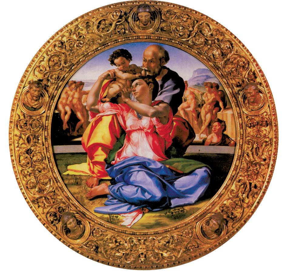 """Nel """"Tondo Doni"""" di Michelangelo (1504), in alto a destra si riconosce il profilo di un monte: il Sasso della Verna, nei pressi di Chiusi. Per alcuni studiosi, un omaggio dell'artista al luogo natale"""