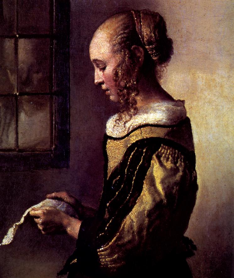 """Jan Vermeer, """"La fanciulla che legge una lettera presso la finestra"""" (particolare)"""