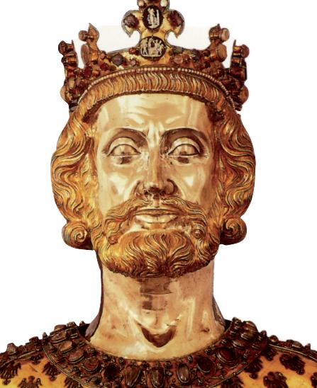 Particolare del busto-reliquiario di Carlo Magno, argento parzialmente dorato, 1350 ca. Aquisgrana, tesoro del duomo