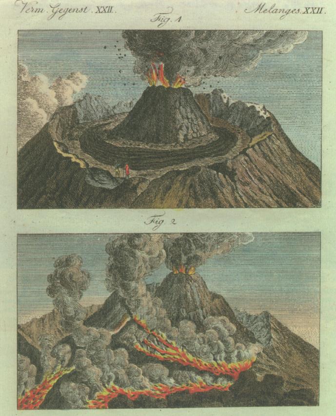 Immagini di fenomeni vulcanici a fine Settecento