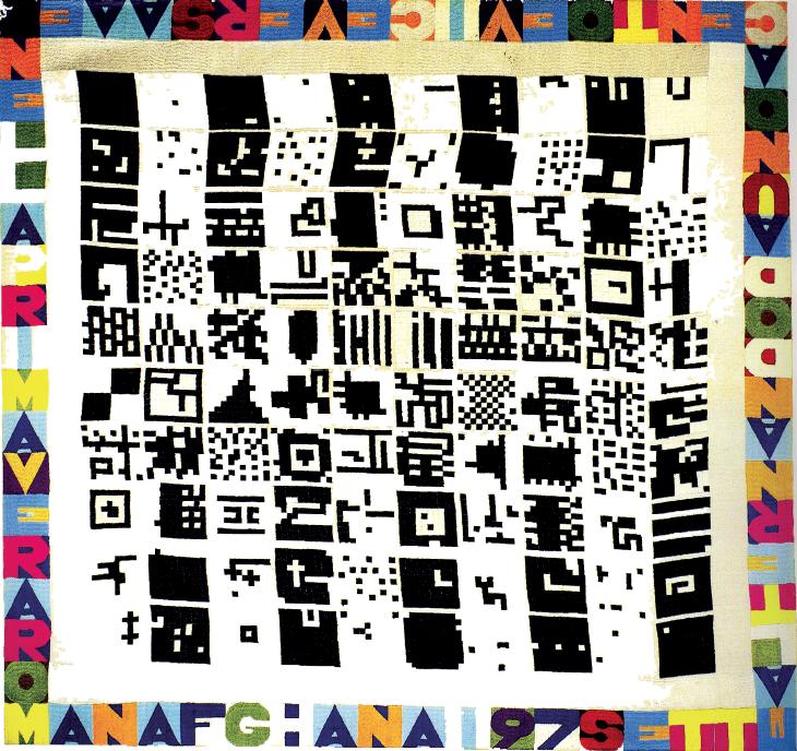 """Alternando da uno a cento e viceversa"", 1977, ricamo su tela"