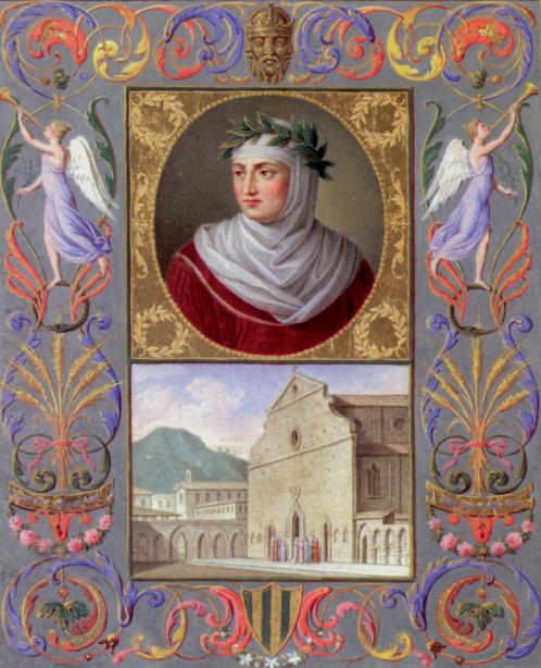 """Giambattista Gigola, """"Ritratto di Giovanni Boccaccio; veduta di Santa Maria Novella"""""""