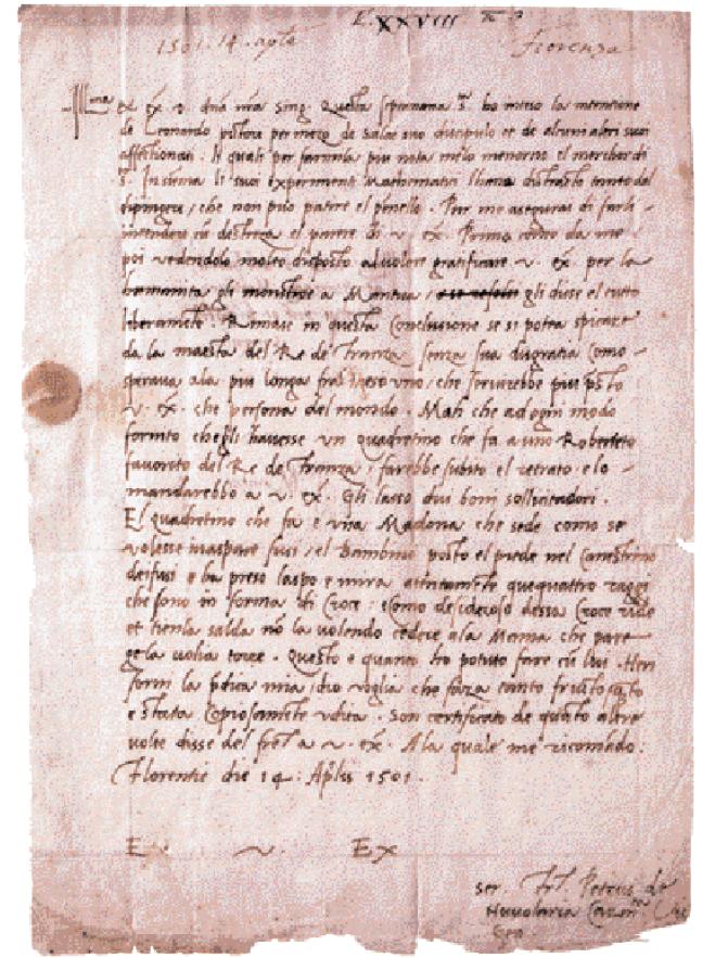 Lettera autografa di fra Pietro da Novellara a Isabella d'Este, 14 aprile 1501