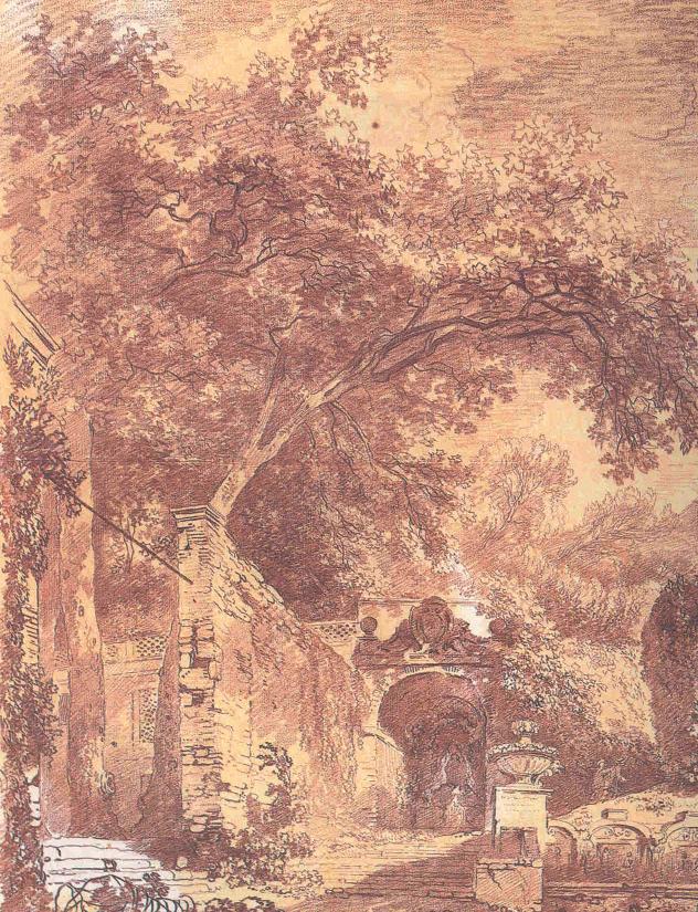 "Fragonard, ""Ingresso del Fontanone di Villa d'Este a Tivoli"", sanguigna su carta, 1761"