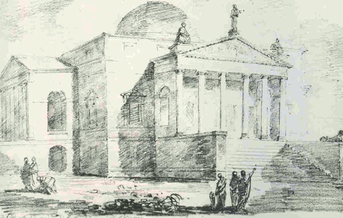 "Fragonard, ""La Rotonda palladiana a Vicenza"", 1761, matita su carta"