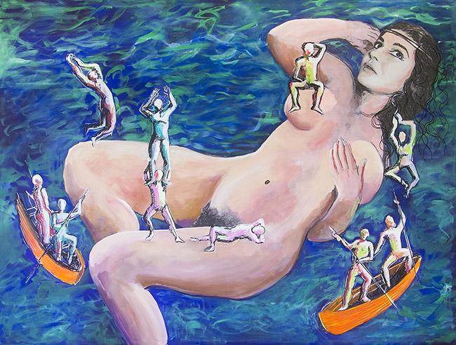 Dario Fo Allegoria dei viaggi di Gulliver dove la Callas e' presentata nei panni di una gigantessa 2013 Tecnica mista su tela, 135x103 cm (141x109 cm con cornice) Archivio Franca Rame e Dario Fo