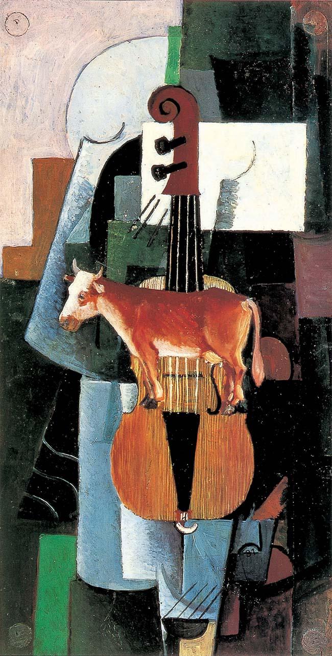 Kazimir Malevič Mucca e Violino, 1913 Olio su tavola 48,8x25,8 cm Museo di Stato Russo, San Pietroburgo