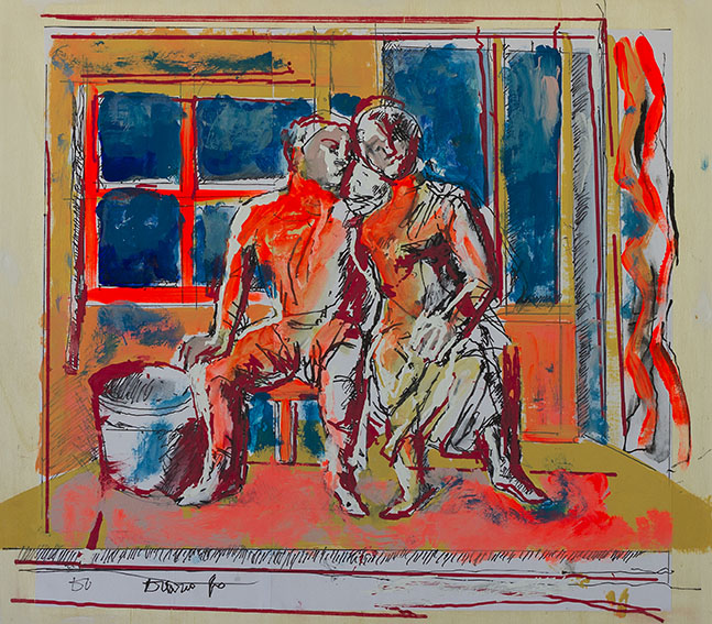Dario Fo Andiamocene insieme 2015 Tecnica mista su tavola, 49x45,5 cm (56x52 cm con cornice) Archivio Franca Rame e Dario Fo