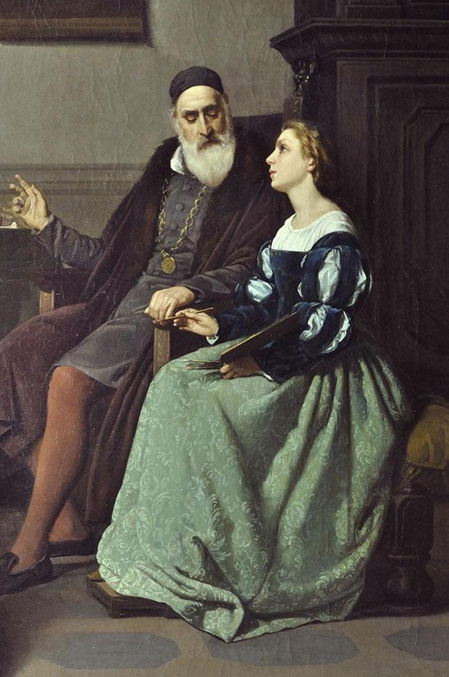 Silvestro Lega, Tiziano e Irene di Spilimbergo, 1859, olio su tela, cm 97,5x81, Collezione Palazzo Foresti, Carpi