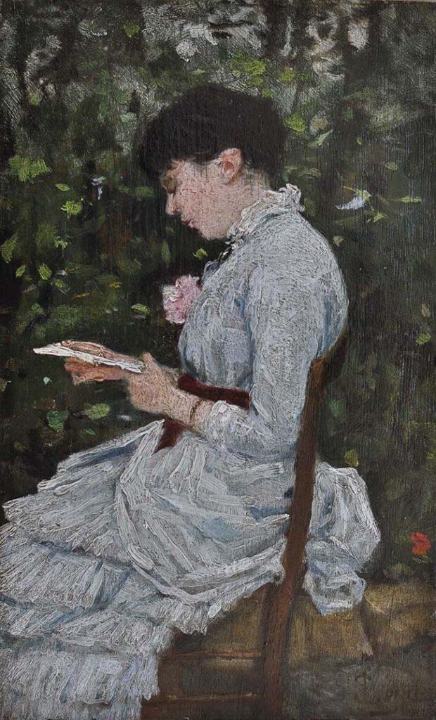 Silvestro Lega, La signora Adelina Tommasi Bertolini in giardino, 1884 ca., olio su tavola, cm 24,3x15, collezione privata