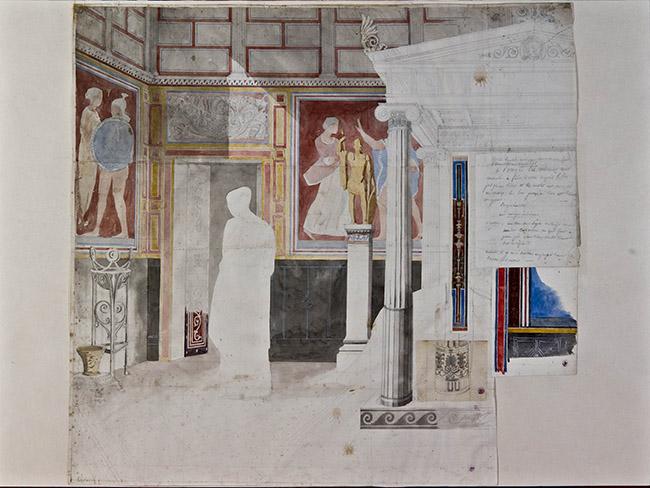 Jean-Auguste-Dominique Ingres, Studio preparatorio per l'ambientazione di Antioco e Stratonice, matita e acquerello su carta copiativa, 50 cm x 65 cm, Musée Ingres, Montauban