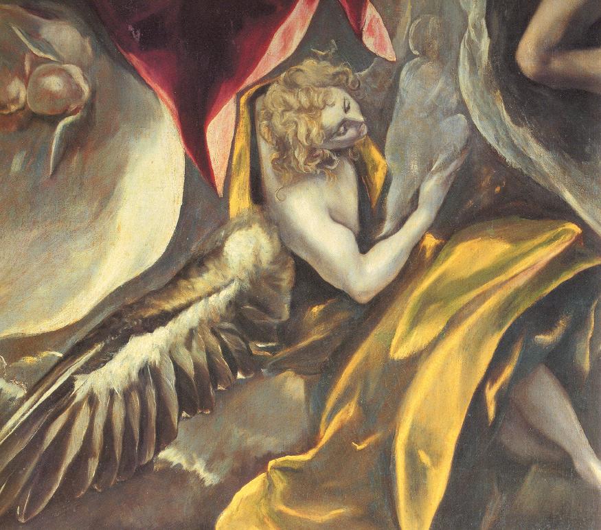 """El Greco, """"Angelo"""", particolare dell'""""Entierro del Conde de Orgaz"""". A sinistra, un dettaglio delle gambe dell'angelo, dalla """"Trinità"""" dipinta dall'artista attorno al 1578"""