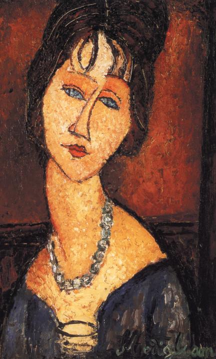 """""""Jeanne Hébuterne con collana"""". E' uno dei numerosissimi ritratti della donna che vivrà accanto al pittore negli ultimi, tribolati anni, e che gli darà una figlia. Quando Modì muore di tubercolosi, a 36 anni, Jeanne, incinta di otto mesi del secondo figlio, si suicida gettandosi nel vuoto dal tetto della casa paterna"""
